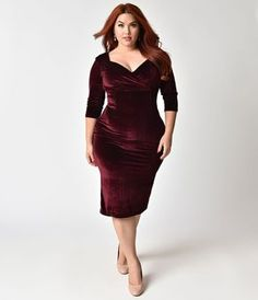 8acd660a4fe Steady Plus Size 1950s Burgundy Red Velvet Sleeved Diva Cocktail Dress