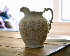 Antique Porcelain Transferware Water Pitcher by 5gardenias on Etsy, $68.00