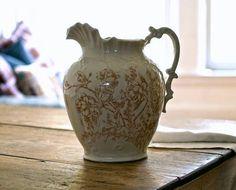 Antique Porcelain Transferware Water Pitcher