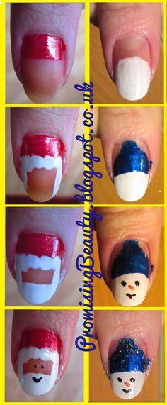 Promising Beauty: Christmas Nails!! - Snowman and Santa Claus