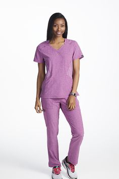 The Details: This sporty top is designed with heathered material and flattering side panels. You can find it exclusively at Scrubs & Beyond!  Fit/Feel: The soft stretch fabric is a great way to give yourself comfort and flexibility.  The Clincher: Roomy pockets give you the space to hold important instruments and accessories. Koi Scrubs, Lab Coats, Scrub Tops, Side Panels, Stretch Fabric, Fashion Forward, Flexibility, Charlotte, Instruments