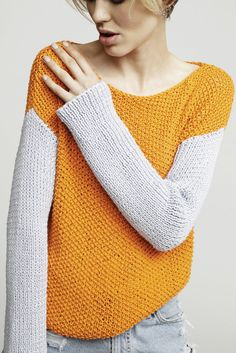 Primo Pullover in Wool and the Gang Shiny Happy Cotton. Discover more Patterns…