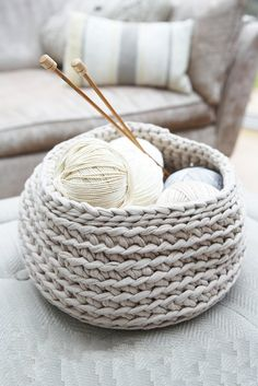 These stylish storage pots are worked in rounds of double crochet and because they use a really thick yarn, they're quick to make