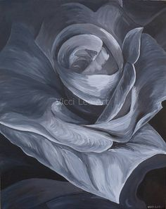 Original Acrylic Painting, Roses, Black and white Flower, Flower Detail, Floral Art, Botanical Art Print
