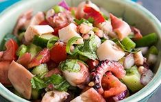 Salada de Polvo Ceviche, Street Food, Potato Salad, Grilling, Potatoes, Ethnic Recipes, Portugal, Drink, Salads