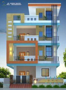 House Balcony Design, House Arch Design, 3 Storey House Design, House Outside Design, Duplex Design, Residential Building Design, Home Building Design, House Elevation, Front Elevation