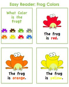 Reptiles & Amphibians - Preschool Theme: Printable emergent reader and other frog printables Kindergarten Colors, Preschool Colors, Kindergarten Literacy, Early Literacy, Color Activities, Preschool Activities, Preschool Classroom, Reading Activities, Childhood Education