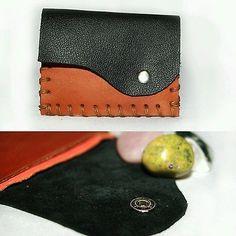 Genuine Leather Card Wallet Purse Handmade with Australian Leather, Hemp. RARE! Crystal medicine bag. Minimalist leather fashion Diy handmade