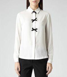 BEA Bow Embellished shirt in chalk - white shirt with black bows - REISS 10 12 Black Bows, Reiss, Shirts, Dress Shirts, Shirt