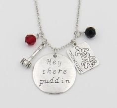 """Harley Quinn Necklace,""""Hey there Puddin"""""""
