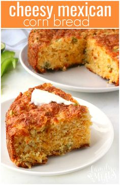 Cinco de Mayo is almost here, so I have been busy wiping up some delicious, Mexican inspired dishes for you! Here's a really easy, hearty Cheesy Mexican Cornbread recipe. It's just as simple to make as plain cornbread, but it's got a lot more going on. Mexican Dishes, Mexican Food Recipes, Mexican Corn Bread Recipe, Mexican Cornbread, Cheesy Cornbread, Cornbread Salad, Moist Cornbread, Cornbread Recipes, Jiffy Cornbread
