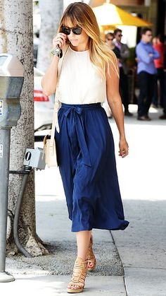 Lauren Conrad - simplicity in white blouse, blue midi, neutral shoes