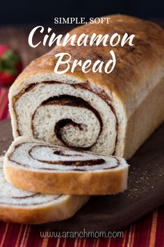 This easy recipe makes 2 loaves of delicious cinnamon bread. Perfect for French toast or cinnamon toast! # Food and Drink homemade Easy Cinnamon Bread Recipe Simple Muffin Recipe, Healthy Muffin Recipes, Easy Cinnamon Bread Recipe, Recipe For Bread, Cinnamon Swirl Bread, Easy Bread, Cinnamon Rolls, Dessert Bread, Dessert Recipes