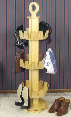 19-W3065 - Revolving Shoe Rack Woodworking Plan