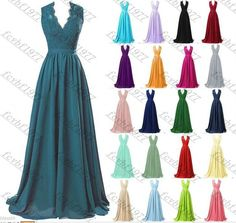 Long Chiffon Lace Evening Formal Party Ball Gown Prom Bridesmaid Dress Size 6~22 | Clothing, Shoes & Accessories, Wedding & Formal Occasion, Bridesmaids' & Formal Dresses | eBay!
