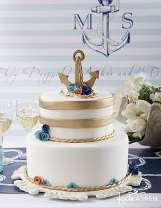 Nautical Wedding Inspiration   Custom Backdrop   www.kateaspen.com   Nautical Wedding Cake   Anchor Cake Topper