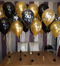 Black And Gold Double Standard 50th Birthday Balloons Centerpieces