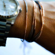 Rose gold and Gray silk friendship bracelet