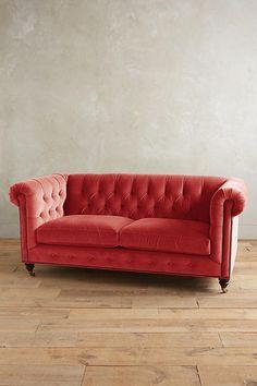 Slide View: 1: Velvet Lyre Chesterfield Sofa, Hickory Legs