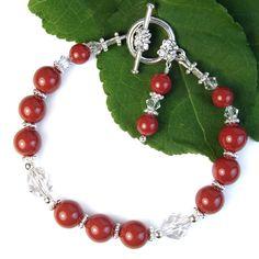 Red Coral Pearl Bracelet Crystals Swarovski, Handmade Beaded Jewelry | PrettyGonzo - Jewelry on ArtFire