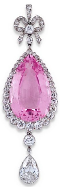 Edwardian pink beryl and diamond pear-shaped drop pendant. Via Diamonds in the Library.