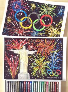 Create a firework display over Rio. Part of a fun 41 page Rio Olympics DOWNLOAD bumper creative art activity pack for kids - ideal for home/homeschool use, Olympic themed parties, party bag fillers and holiday entertainment. This detailed creative art activity pack has been designed to enthuse and engage children in a fun, experimental way and to encourage the exploration of colour, shape, abstract pattern.