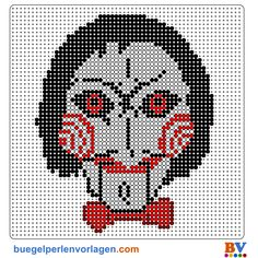 Saw Mask Perler Bead Patterns | Bead Sprites | Pixel Art
