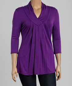 Look what I found on #zulily! Celeste Purple Shawl Collar Top - Plus by Celeste #zulilyfinds