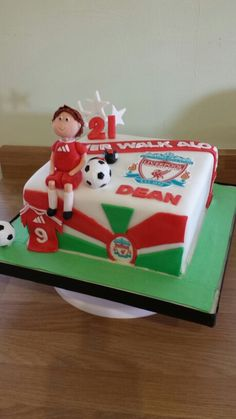 Liverpool football cake Men Cake, Cakes For Men, 8th Birthday, Birthday Cakes, Liverpool Cake, Football Cakes, Sport Cakes, Cake Boss, Archie