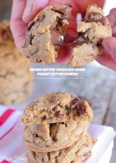 Brown Butter Chocolate Chunk Peanut Butter Cookies!