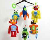 Baby Crib Mobile - Baby Mobile - Felt Mobile - Nursery mobile - Space and Robot Theme (Custom Color Available). $78.00, via Etsy.