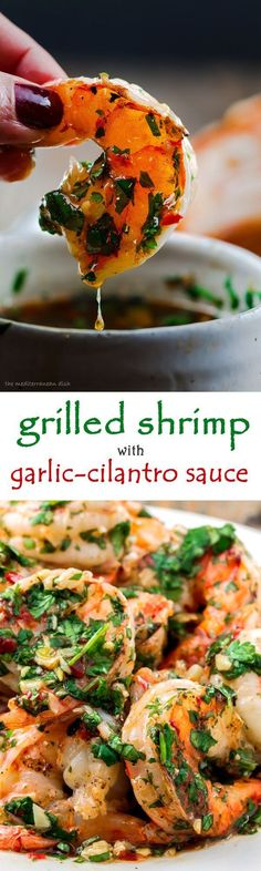 Grilled Shrimp with Roasted Garlic-Cilantro Sauce. Easy and o-so-delicious appetizer! Click the pin image to see the recipe and browse TheMediterraneanD... for more!