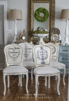 Vintage french chairs renovated with grain sacks, drop cloths, and stencils! www.EdithandEvelynVintage.wordpress.com