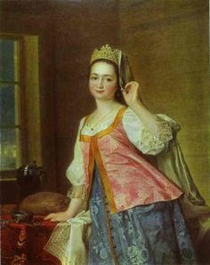 Portrait of the artist's daughter A.D. Levitzkaya in Russian dress by Dmitry Levitzky,1785