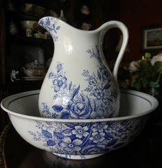 Vintage  Blue English Transferware  Huge Wash Basin & Pitcher Flowers Roses. $239.99, via Etsy.