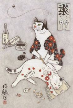 23 Best Ideas For Cats Illustration Tattoo Gatos Tattoo Gato, Cat Tattoos, Tattoo Ink, Arm Tattoo, Japanese Cat, Japanese Sleeve, Japanese American, Japanese Tattoo Women, Illustration Art