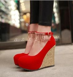 Hot Womens Glitter Ankle Strap Platform Pumps High Wedge Heels Round Toe Shoes #platformpumpsglitter