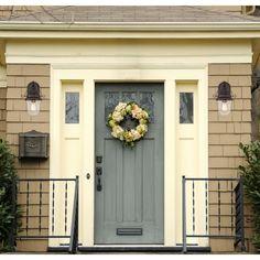 Yellow House Exterior, Front Door Paint Colors, Exterior Paint Colors For House, Painted Front Doors, Colored Front Doors, Exterior Paint Ideas, House Shutter Colors, Exterior Design, Outside House Paint Colors