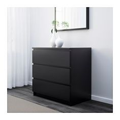 IKEA - MALM, chest, black-brown, Of course your home should be a safe place for the entire family. That's why hardware is included so that you can attach the chest of drawers to the wall. Real wood veneer will make this chest of drawers age gracefully. Chest Of Drawers, Black And Brown, Home, Drawers, Furniture, 3 Drawer Chest, Malm, Ikea, Malm Bed