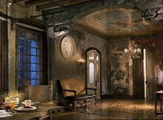 An eagle takes flight across the foyer ceiling of actor Gerard Butler's Manhattan loft. The mural, painted by Jon De Pabon and Paul Kendall, is in tune with the space's rustic design. New York Loft, Ny Loft, Loft Interiors, Rustic Interiors, Vintage Interiors, Gerard Butler House, Inspiration Art, New York Homes, Old World Style