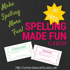 Make spelling more fun with these spelling games. 30 FREE Printable cards included.