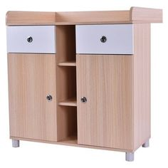 Baby Changing Table Nursery Diaper Dresser Station Infant Storage Drawer 2 Doors…