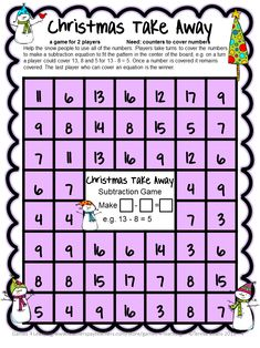 FREEBIES - Christmas Math Freebie by Games 4 Learning contains 4 printable Christmas Math Board Games. These free Christmas math games