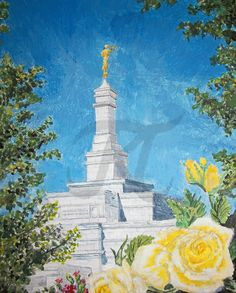 "Enjoy this original painting by Bekalyn Craig. Painted in acrylic on an 8"" x 10"" canvas, amidst the gold and scarlet flowers, this majestic temple rises among the trees. This temple of the Church of Jesus Christ of Latter-Day Saints was painted for a new friend who grew up in Columbus, Ohio.  The photo used for reference was provided by Lizzie C (rosa-pegasus) and can be viewed at http://rosa-pegasus.deviantart.com/art/PICTO-Columbus-Temple-4-166030172.  Trivia tip: this includes state…"