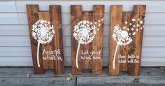 Beautiful Dandelion Wall Art. Dandelion decor. Dandelion wood sign, Dandelions, z Prefect decor to hang up in your house! Tallest board measures ap… | Pinteres…