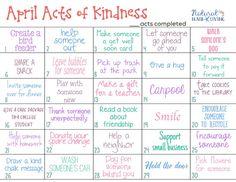 April Random Acts of Kindness Calendar - Natural Beach Living Kindness Projects, Kindness Activities, Activities For Kids, Kindness Ideas, Kindness Rocks, Care Calendar, Kids Calendar, Happiness Challenge, Kindness Challenge