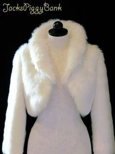 Faux Fur Wedding Bolero Jacket  Ivory  3/4 by JacksPiggyBank, $299.99