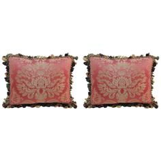 Pair of Antique Red Silk Damask Textile Pillows. | From a unique collection of antique and modern pillows and throws at https://www.1stdibs.com/furniture/more-furniture-collectibles/pillows-throws/