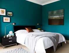 Innovative bed slats in Bedroom Contemporary with White Linen next to Bedroom Paint Color alongside Cherry Furniture and Bedroom Wall Color Aqua Blue Bedrooms, Teal Bedroom Walls, Dark Teal Bedroom, Teal Rooms, Bedroom Wall Colors, Modern Master Bedroom, Contemporary Bedroom, Home Decor Bedroom, Bedroom Furniture