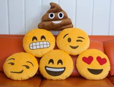 Express yourself IRL with the Emoji Pillows by Throwboy. These emoji pillows bring your favorite emoji to life. Get your smiley or love emoji Cute Pillows, Diy Pillows, Decorative Pillows, Throw Pillows, Pillow Beds, Funny Pillows, Le Emoji, Smiley Emoticon, Smiley Faces